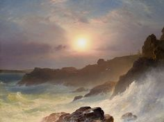 Coast Scene, Mount Desert (Sunrise off the Maine Coast): 1863 by Frederic Church (Wadsworth Atheneum, Hartford, CT) - Hudson River School - I think this might be one of my new favorite landscapes! Hudson River School Paintings, Frederic Church, Reproduction, Natural Phenomena, Beautiful Landscapes, Van Gogh, Art Museum, Sunrise, Art Gallery