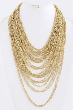 Multi Chain Layered Necklace and Earrings Set in Gold NWT #Fall #Chain #Fashion