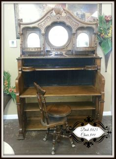 Antique Pump Organ Desk (Piano, Up-Cycle, Reclaimed, Repurposed, Tiger Oak) Better Than New Consignments