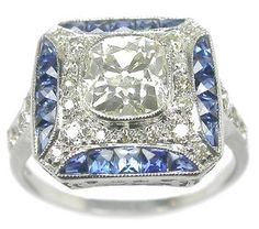 Art Deco 1.30ct Natural Fancy Yellow Even Diamond & Sapphire 18k White Gold Ring.
