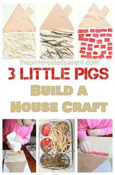 Three Little Pigs kid's Craft & activity - Build a straw, stick & brick house. Kid's book inspired arts and crafts 3 Little Pigs Activities, Craft Activities For Kids, Crafts For Kids, Fairy Tale Activities, Science Activities, Science Projects, Eyfs Activities, Science Fun, Preschool Science