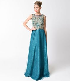 Teal Sleeveless Embellished Tulle Long Dress For Prom 2017