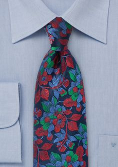 Designer Floral Tie in Navy, Red and Green