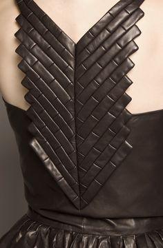 Black leather dress back with stitched brick pattern; fabric manipulation; sewing; close up fashion detail // Dina JSR