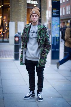 NIGHT - Slouch pants, sneakers, beanie, graphic tee and jacket
