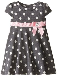 Blueberi Boulevard Baby Girls' Dot and Bows Knit Dress, Grey, 12 Months