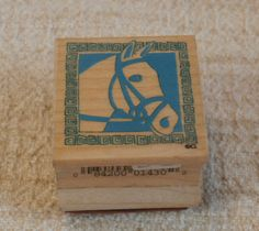 Horse Head with Border, Vintage All Night Media First Class Stamps 143D   Wooden Back Stamper