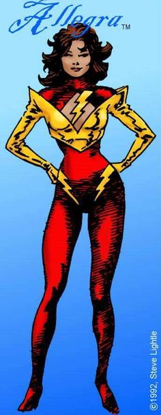 Art by Steve Lightle (11/16/2017) Allegra was a character I proposed for an early Legion reboot.  Allegra appears to have been the inspiration for two other DC characters. The origin for Allegra is virtually the same as the origin of Impulse. XS may also have been inspired by Allegra. Like Nightcrawler, who never appeared in an issue of the Legion comic, Allegra has her place in Legion history. Allegra would have been the first Legionnaire of Latin descent. Her civilian name was Rheeta…