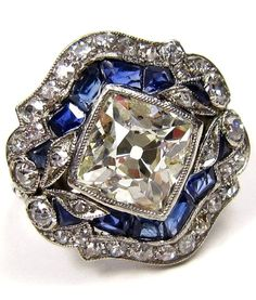 4.20ct Art Deco Antique Old Mine CUSHION Diamond Sapphire Engagement Wedding Ring EGL...