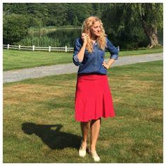 Red and white polka dot flirty skirt from Karina Dresses, denim shirt from New York and Co. #OOTD #summer