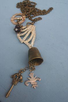 Thimble necklace Vintage assemblage Assemblage jewelry Gothic Rings, Gothic Jewelry, Vintage Jewelry, Handmade Necklaces, Handmade Jewelry, Unique Jewelry, Industrial Jewelry, Mixed Media Jewelry, Adult Crafts