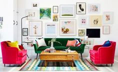 Too much of a good thing can be wonderful, and a bright and colorful gallery wall is no exception. Instead of shying away from splashy artwork in an already colorful room, borrow inspiration from Oh Joy's living room, designed by Emily Henderson, and create a salon-style scene that draws from the room's color palette for an eye-catching (but complementary) display.