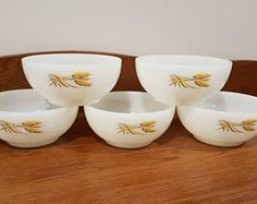 Vintage Fire King Wheat, Set of 5 Dishes, Vintage Pyrex, Golden Wheat Design, Collectable, Cereal Bowls, Serving Dishes, Circa 1960's.