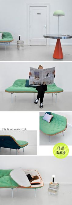 Camp daybed - sleeping bag sofa by Stephanie Horning