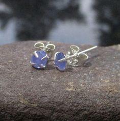 Tanzanite Mini Silver Stud Earrings, Simple Small Minimalist Post Earrings, Natural Tanzanite Silver Studs, December Birthstone Earrings