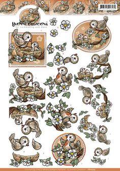 CD10725-3D Knipvel - Yvonne Creations - Oranje vogeltjes
