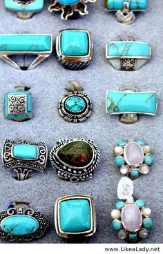 Turquoise jewelry. Bottom left 2 rings are my style!!!