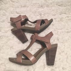 Lucky Brand block Heels Comfortable block heels with Velcro strap. Nice condition. Worn only a couple of times. Lucky Brand Shoes Heels