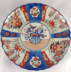 Antique 19th Century Japanese Imari Plate Charger Porcelain Scalloped Floral