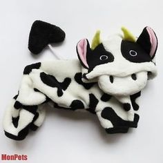 "XS /chest 12"" Cow Hallowmas Costume Pet Dog Jumpsuits Hoodie Coat Dog Clothes so cute- aprox $8!"
