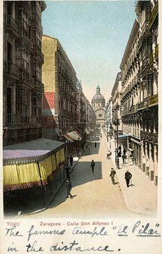 Postal coloreada de la calle Alfonso I de Zaragoza. Fechada en 1904, principios del siglo XX. 04