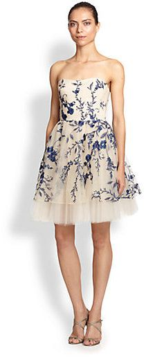 Marchesa Notte Strapless Floral-Embroidered Cocktail Dress http://www.shopstyle.com/action/loadRetailerProductPage?id=466465291&pid=uid7609-25959603-56