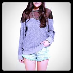 Sweatshirt with See Through Top This is such a unique sweatshirt with black see-through top. Can be dressed up or dressed down, it's so versatile! Urban Outfitters Tops Sweatshirts & Hoodies