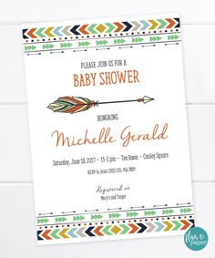 Tribal Baby Shower Invitation, Tribal Invitation, Bohemian Invitation, Boho Baby Shower, Bridal Shower, Arrow and Feathers PRINTABLE FILE by FlairandPaper on Etsy
