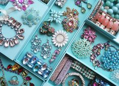 Using Martha Stewart containers from Staples for organizing jewelry!