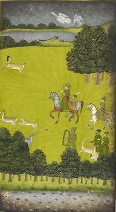 Prince Gauhar on a hunting expedition,  from Karnama-i 'Ishq (Book of affairs of love) by the Hindu poet Rai Anand Ram Mukhlis (d. 1751) a romance in Persian on the afflictions of a young man's heart and the challenges he faces for eternal love. Illustrations By Govardhan II, 1734-9 British Library