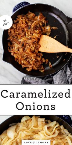 Learn how to make caramelized onions perfectly every time! Rich, sweet, and deeply golden brown, they're SO delicious in pastas, soups, dips, and more. | Love and Lemons #onions #howto #caramelizedonions #mealprep Vegetarian Recipes Dinner, Veggie Recipes, Cooking Recipes, Free Recipes, Soup Recipes, Recipies, Healthy Recipes, Classic Mac And Cheese, Vegan Mac And Cheese