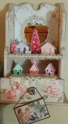 Glitter Houses...Pink Vintage Shabby Chic Christmas decorations