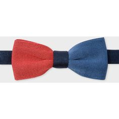 Paul Smith Men's Blue, Navy And Burnt Red Knitted Silk Bow Tie ($90) ❤ liked on Polyvore featuring men's fashion, men's accessories, men's neckwear, bow ties, mens red bow tie, mens ties, mens blue tie, mens silk ties and mens bow ties
