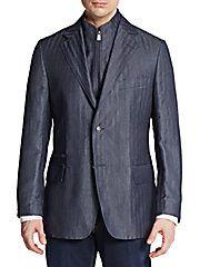 Shadow Stripe Flax & Wool Sportcoat