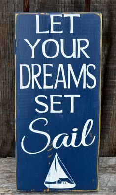 Beach Nursery Decor Let Your Dreams Set Sail Sign Kids Room Children's Wall Art Beach Theme Baby Plaques Gift Ideas Sailboat Surf Sea Boys Girls Room Bedroom