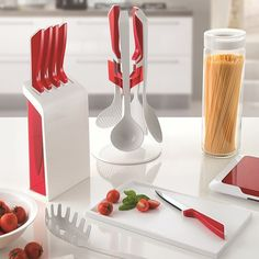 Guzzini My Kitchen Utensil Carousel Set - modern red utensil set Kitchen Utensils, Kitchen Appliances, Red Candy, Utensil Set, Create Space, Bottle Design, Home Accessories, Cooking Ware, Kitchen Design