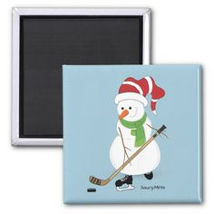 Hockey Snowman Christmas Fridge Magnet. Great for hockey Christmas decoration.