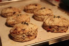 Honey-Date-Thyme Scones, browned and flaky, fresh from  the oven.