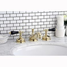 Polished Brass and Black Widespread Bathroom Faucet