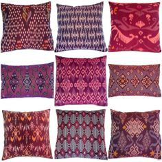 Ikat Pillow Purple  Set of 9 16x16 12x18 by ginette1223 on Etsy, $160.00