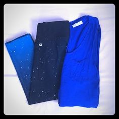 Fabletics outfit bundle!  Fabletics starry night looking Salar leggings. Ombré black to light blue. Top not fabletics. Toska blue open back tank. Both in excellent condition. Fabletics Pants Leggings