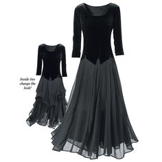 Velvet and Chiffon Ballerina Dress  Exclusive! Dress with the grace of a prima ballerina! The stretch-velvet bodice and sheer, chiffon outer skirt create a look of elegance. Versatility, too, because the skirt has inside ties that raise and gather or lower the hem. Lined. Three-quarter sleeves. ~The Pyramid Collection ~ #plus size ~wtb