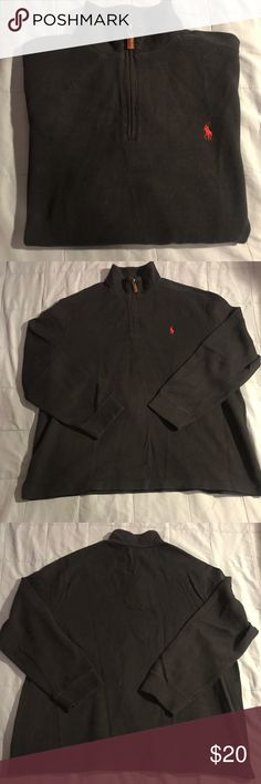 POLO RALPH LAUREN HALF ZIP NAVY SWEATER 100% authentic. SZ. XXL. EXCELLENT CONDITION. Navy blue with leather accent half-zip. Msrp $100. Any questions about this item pls comment. Polo by Ralph Lauren Sweaters Zip Up
