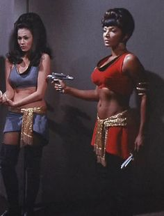 "Marlena Moreau (Barbara Luna) and Lt. Uhura (Nichelle Nichols) - Star Trek: The Original Series ""Mirror, Mirror"" (First Broadcast: October Star Trek 1966, Star Trek Tv, Star Trek Ships, Star Wars, Star Trek Movies, Star Trek Cosplay, Mirror Universe, Nichelle Nichols, Star Trek Images"