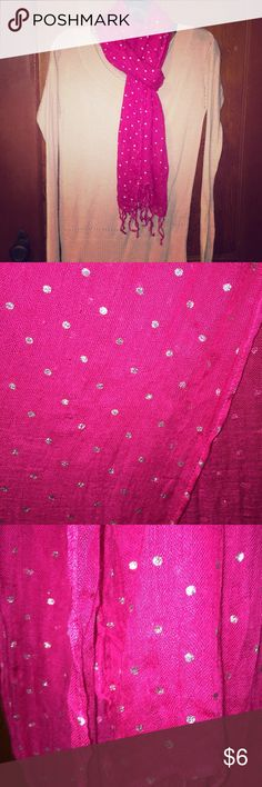 Pink fashion scarf Hot pink tassel scarf with silver polka dots. 72 in x 22 in. long enough to wear multiple ways. 2nd picture shows areas of light pulling due to the extremely light weight of the fabric. It is not noticeable when worn New York & Company Accessories Scarves & Wraps