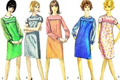 Vintage 1960s Simplicity 6259 one piece dress with simulated smocking. Dress, gathered to yoke with high round neckline, has back zipper and set in