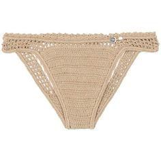 She Made Me Essential Mini Hipster Crochet Bikini Bottoms (295 BRL) ❤ liked on Polyvore featuring swimwear, bikinis, bikini bottoms, swimsuits, bikini, beige, bikini bottom swimwear, mini bikini, crochet bikini and crochet bathing suits