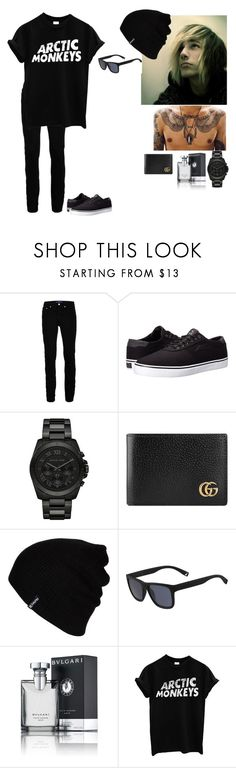"""ootd~Danny"" by to-infinityandbeyond-anons ❤ liked on Polyvore featuring Topman, Lakai, Michael Kors, Gucci, Hurley, Lacoste, Bulgari, men's fashion and menswear"