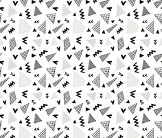 ee02b4398c448 Colorful fabrics digitally printed by Spoonflower - Cool abstract memphis  style geometric triangle and arrow shapes gender neutral beige black and  white
