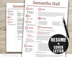 TEACHER Resume Template Sleek Design / Resume Cover Letter Template / Professional Resume Instant Download
